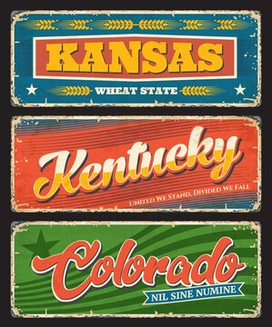 Kansas, Kentucky and Colorado plates, USA states tin signs. America region vector grunge plates, old signs with retro typography, territory mottos and flags. United States travel destination plates