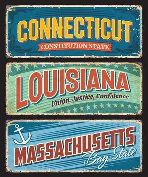 Connecticut, Louisiana and Massachusetts US states tin signs. USA regions plate with retro typography, territory mottos and symbols. United States of America travel destination plates