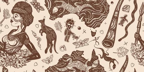 Fototapeta Ethnic Australian woman in traditional costume. Aboriginal tribes bushmen. Australia seamless pattern. Boomerang, rock painting, kangaroo, didgeridoo, map. Old school tattoo vector graphics obraz