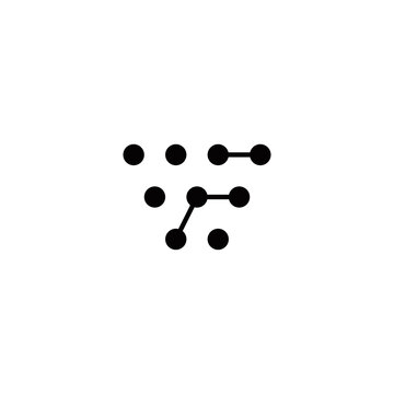 w f wf fw initial technology logo design vector template