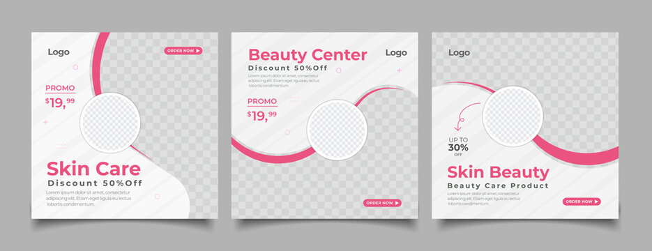 Beauty Center Makeup Social media post Banner Square Flyer Template Design