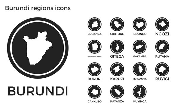 Burundi regions icons. Black round logos with country regions maps and titles. Vector illustration.