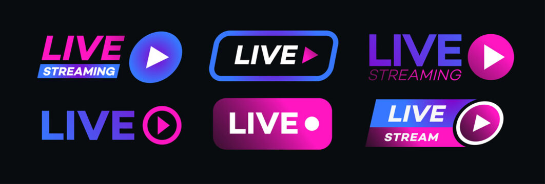 Live streaming icon set neon style isolated on transparent background. Symbol for social media. LIVE button for logo, sign, ui, app development, TV broadcasting. Vector 10 eps