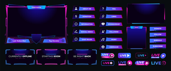 Fototapeta Streaming screen panel overlay design template neon theme. Live video, online stream futuristic technology style. Abstract digital user interface. Live streaming button. Vector 10 eps obraz