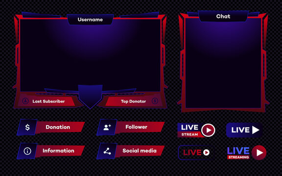 Streaming screen panel overlay game template. Live video, online stream futuristic technology style. Abstract digital user interface. Live streaming button. Vector 10 eps