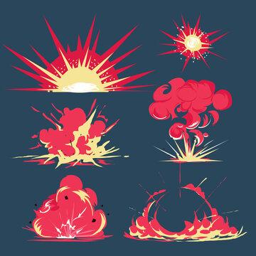 bomb blast cartoon style - vector