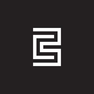 letter cb simple geometric line logo vector