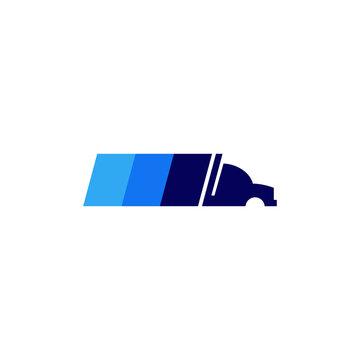 Modern abstract semi truck logo template -  transition blue color 18 wheeler
