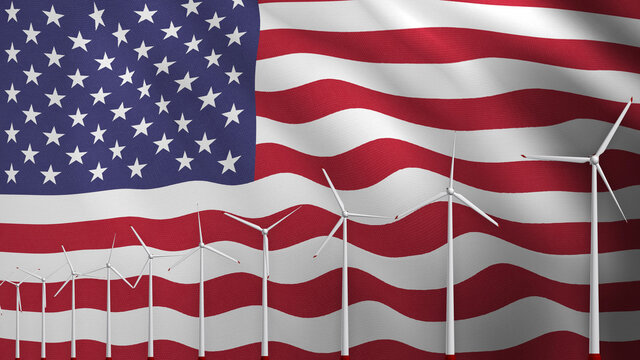 Wind power industry in USA. Wind turbines in front of national flag. 3d rendering.