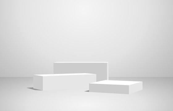 Podium  geometry shape stand scene and winner pedestal in studio on gray or white background.vector illustration.