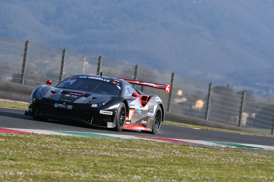 Scarperia, 25 March 2021: Ferrari 488 GT3 of MiddleCap racing with Scuderia Praha Team driven by Kral-Výboh-Výboh in action during 12h Hankook Race at Mugello Circuit in Italy.
