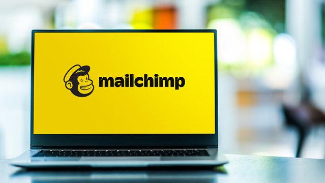 Laptop computer displaying logo of Mailchimp