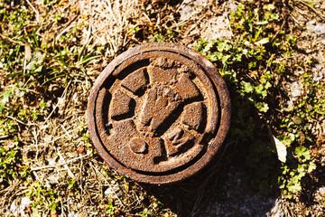Fototapeta Metalowy kanał do odprowadzania wody