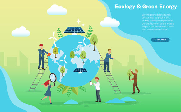 Ecology and green energy concept. Business people showering, planting trees, healing the world with solar panel and windturbine. Clean, renewable and reuse natural resources,