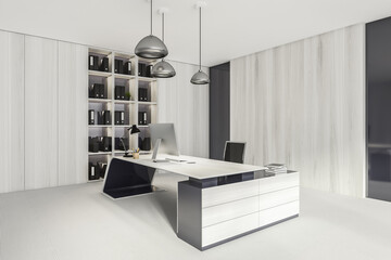 Business consulting room interior with furniture and shelf, mockup