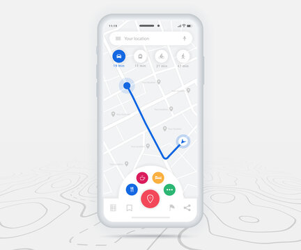 Map GPS navigation ux ui concept, Smartphone map application and destination pinpoint on screen, App search map navigate, Technology map, City navigation maps, City street, tracking, location, Vector
