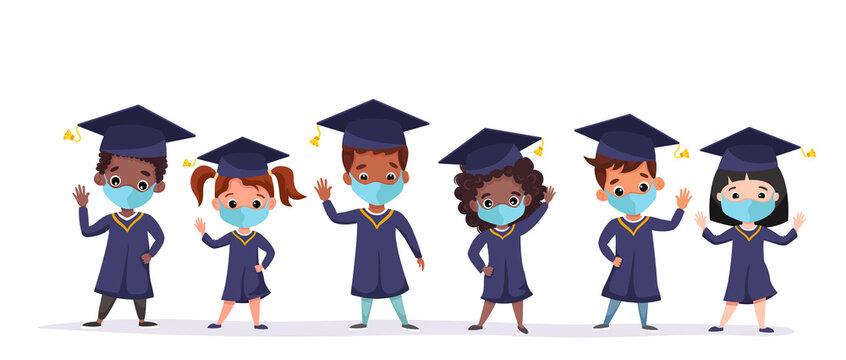 Happy graduated children wearing medical masks, academic gown and cap. Multicultural kids celebrating Kindergarten graduation together. Flat cartoon vector illustration.
