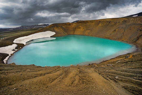 Krafla is a volcanic caldera of about 10 km in diameter with a 90 km long fissure zone, in the north of Iceland in the Mývatn region