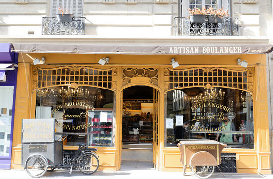 The traditional French bakery shop A la fontaine du Mars located near Eiffel tower in Paris, France.
