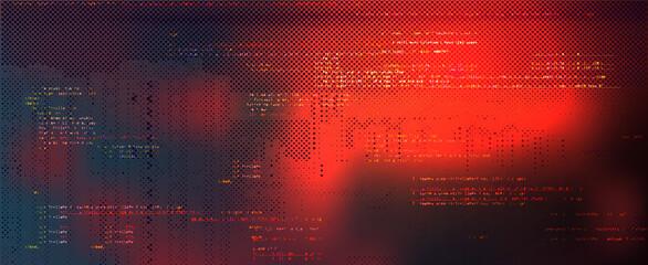 Abstract Technology Binary Code Dark Red Background - fototapety na wymiar