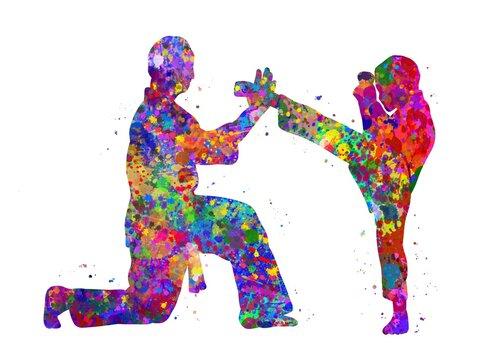Taekwondo training kids watercolor art, abstract painting. sport art print, watercolor illustration rainbow, colorful, decoration wall art.