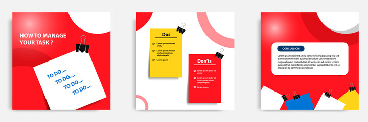 Social media tutorial, tips, trick, did you know post banner layout template with sticky paper note clips design element. Vector illustration