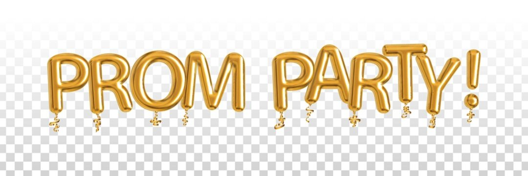 Vector realistic isolated golden balloon text of Prom Party on the transparent background.