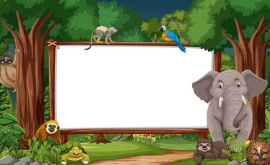 Blank banner in the rainforest scene with wild animals