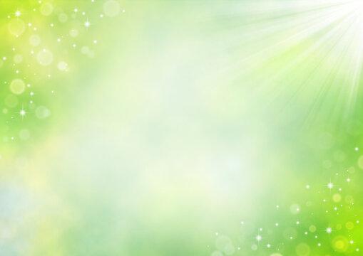 新緑の輝きと日差し 初夏のイメージ 背景イラスト素材(黄緑色)