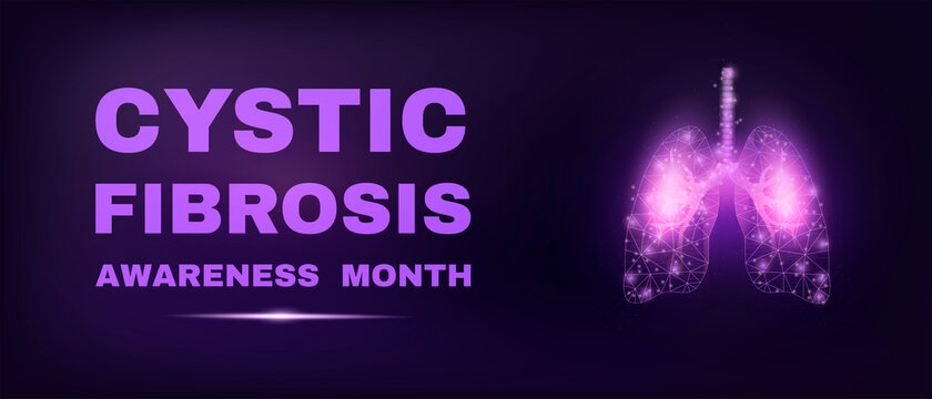 Lungs. Cystic Fibrosis awareness month concept. Banner template with glowing low poly. Modern abstract dark background. Vector illustration.