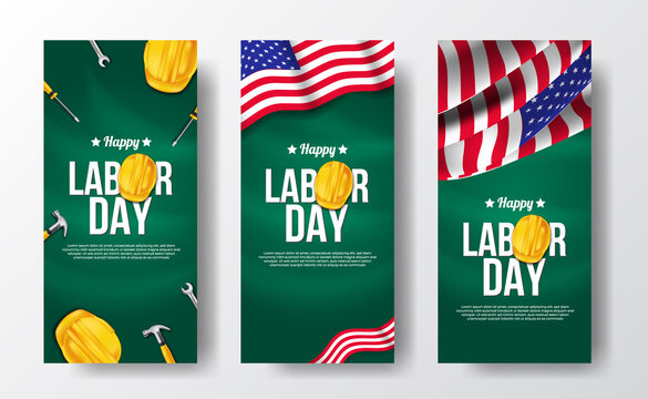 Social media stories banner for labor day with 3d safety helmet worker with american independence day flag with green board.