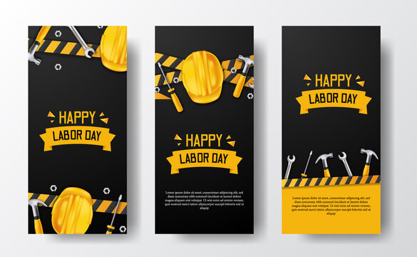 Social media stories banner for labor day with 3d safety helmet worker, hammer, wrench, screwdriver, with yellow line and black background