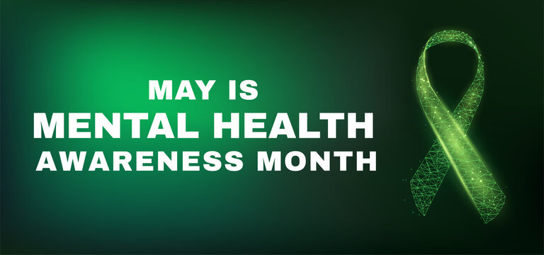 Mental health awareness month concept. Banner template with glowing low poly green ribbon Vector illustration.