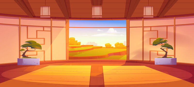 Dojo room, empty japanese style interior for meditation or martial arts workout with wooden floor, bonsai trees and open door with scenic peaceful view on asian rice field, Cartoon vector illustration