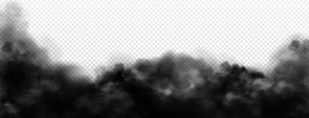 Obraz Black smoke clouds, dirty toxic fog or smog. Vector realistic illustration of dark steam, smoky mist from fire, explosion, burning carbon or coal. Black fume texture isolated on transparent background - fototapety do salonu