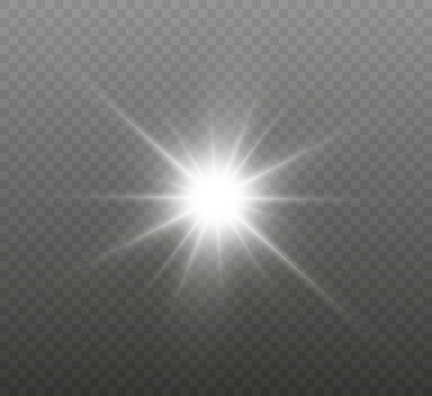 White glowing light explodes on a transparent background. Bright Star. Transparent shining sun, bright flash. Vector graphics.