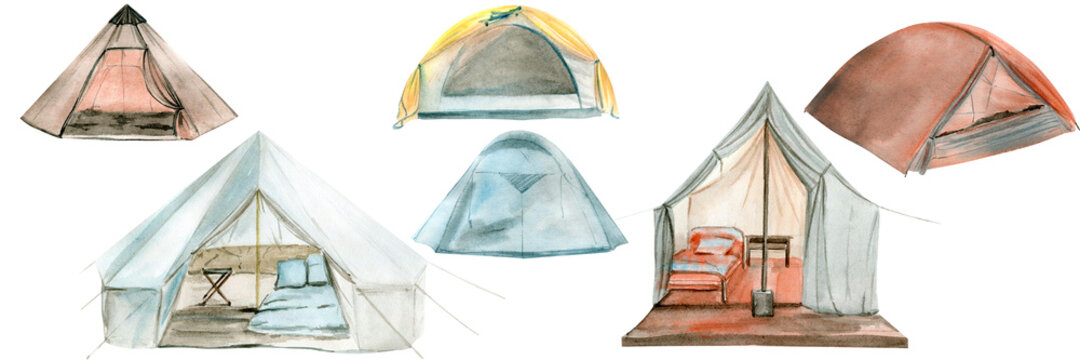 Watercolor illustration of a camping tent. Perfect for logo