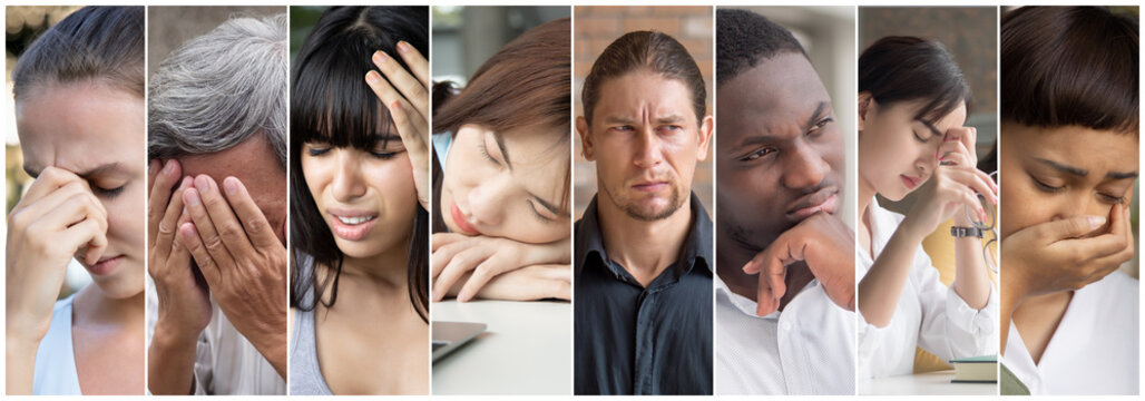 Depressed people with fatigue, concept of ME/CFS, CFS Chronic Fatigue Syndrome awareness day, unhappy life, failure, unemployment, jobless people, economic recession, bullied woman, abused LGBT people
