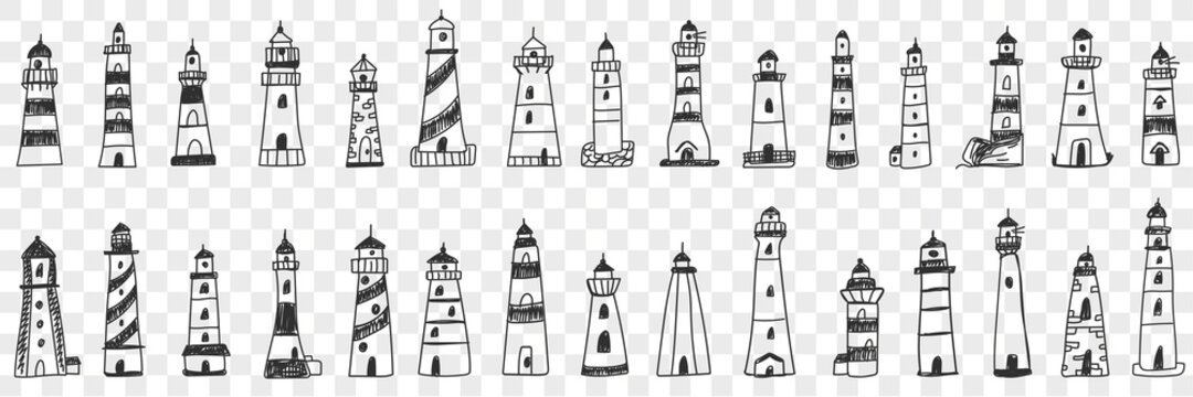 Lighthouse buildings in sea doodle set. Collection of hand drawn various facades of lighthouse buildings in sea or ocean shining lights isolated on transparent background