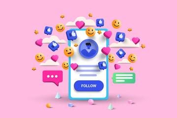 Fototapeta 3D Social media platform, online social communication applications concept, emoji, hearts, chat and chart with smartphone background. 3d Vector illustration obraz