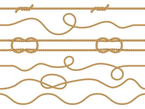 Seamless marine rope. Nautical knot pattern, straight cord marine twine realistic jute or hemp ropes ornament wallpaper, curve and straight lasso decorative borders vector 3d vintage set