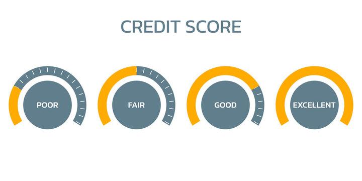 Credit score meter set. Gauge, business report concept. Excellent, good, bad, poor level scale. Credit rating performance design. Vector illustration.