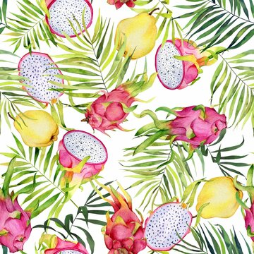 Watercolor fruits pattern on white. Dragonfrut and quince handdrawn yellow fruits. Colorfull bright summer seamless background for textile, wallpapers, print and banners.