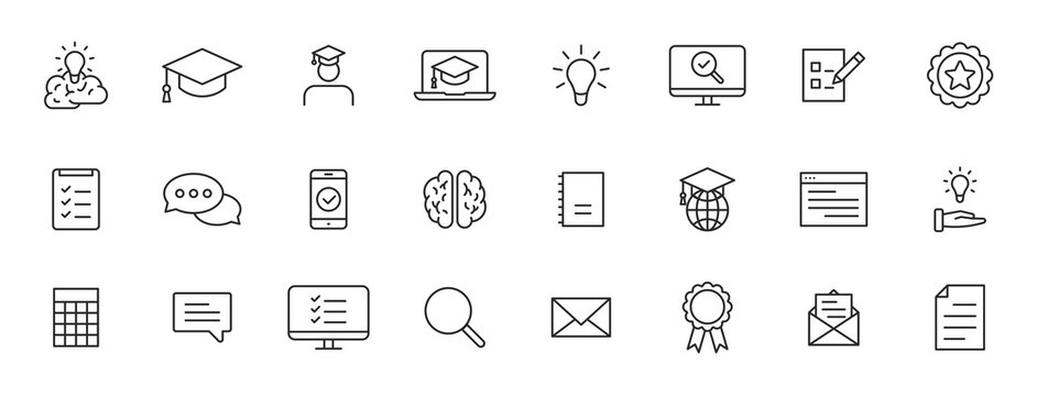 Set of 24 Education and Learning web icons in line style. School, university, textbook, learning. Vector illustration.