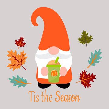 Tis the season. Cute autumn gnome, vector illustration