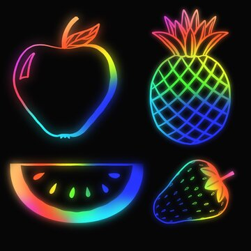 Glowing neon icons of fruit on a black background