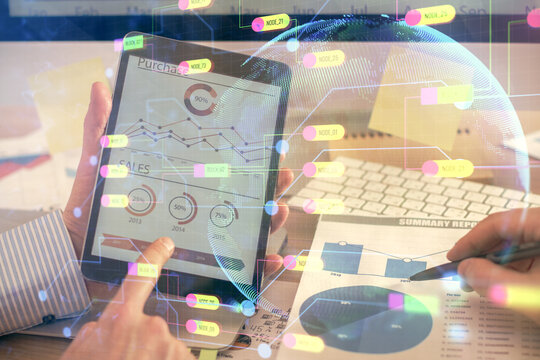 Multi exposure of man's hands holding and using a digital device and data theme drawing. Innovation concept.