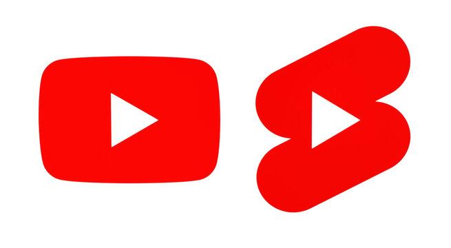 Youtube and Shorts icons on white background