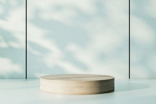 Empty wooden round stand on marble surface at sunny wall background. 3D rendering, mock up