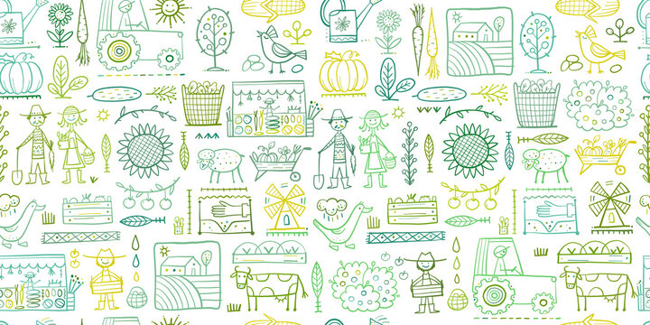 Organic Farm Seamless Pattern Background For your Design. Harvest Festival. Agriculture collection. Organic farming eco concept. Fresh products, locally grown and organic food. Farmer's Market